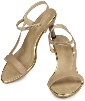Do Bhai Women Beige Heeled Sandals