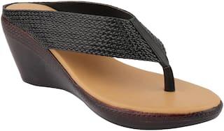 Do Bhai Women Black Heeled Sandals