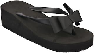 Do Bhai Black Color Flip-Flops For Women