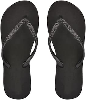 Do Bhai Women Black Flipflops