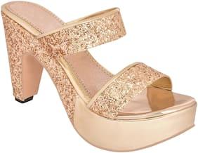 Do Bhai Women Gold Heeled Sandals
