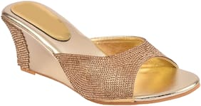 Do Bhai Women Gold Peep Toes
