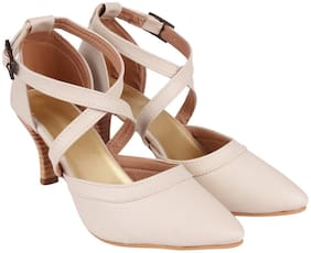 Do Bhai Women Beige Heeled Sandals -