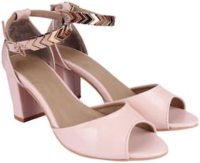Do Bhai Women Pink Heeled Sandals