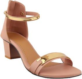 Do Bhai Women Peach Heeled Sandals