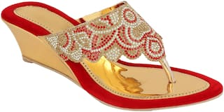 Do Bhai Women Red Sandals