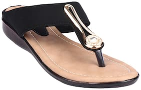 Do Bhai Women Black One Toe Flats