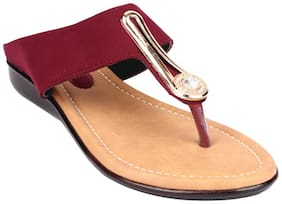 Do Bhai Women Red One Toe Flats