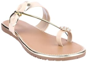 Do Bhai Women Gold One toe flats