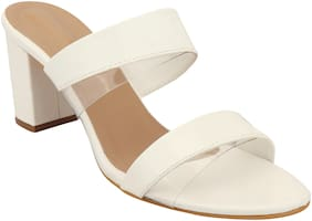 Do Bhai Women White Heeled Sandals
