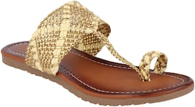 Do Bhai Women Gold Sandals