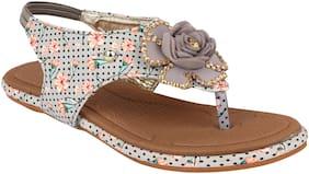 Do Bhai Women Grey Sandals
