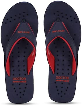 DOCTOR EXTRA SOFT Women Navy Blue & Red Slippers