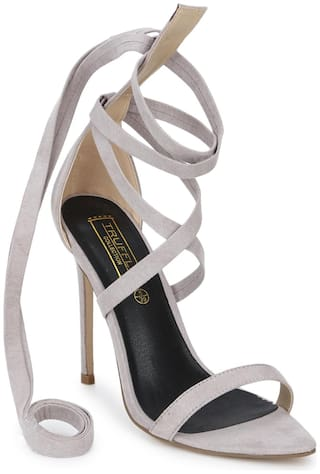 Truffle Collection Dove Grey Micro Lace-up Stiletto Heels