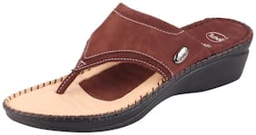 Dr.Scholls Women Premium Leather Brown Slippers