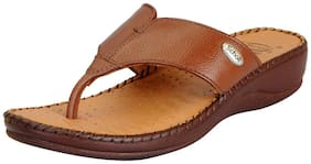 Dr.Scholls Women's Tan Leather House and Daily Wear Wedge Slippers
