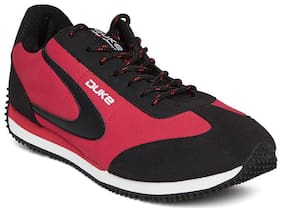 Duke Black & Red Synthetic & Mesh Lace Up Sports Shoes