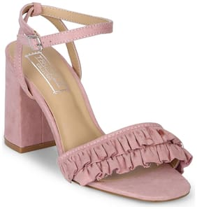 Truffle Collection Dusty Pink Frilled Ankle Strap Block Heels