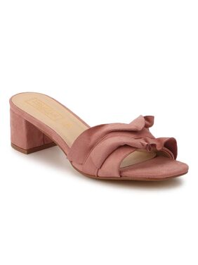Truffle Collection Dusty Pink Micro Slip-On Low Block Heels
