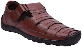 e lyte Mens Casual Leather Sandal EAS-84091 Brown Colour