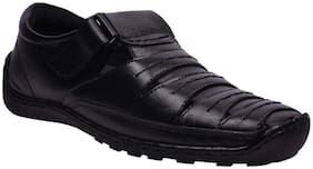 e lyte Mens Casual Leather Sandal EAS-86091 Black Colour