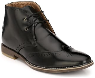 Eego Italy Black Synthetic Leather Men's Formal Boots