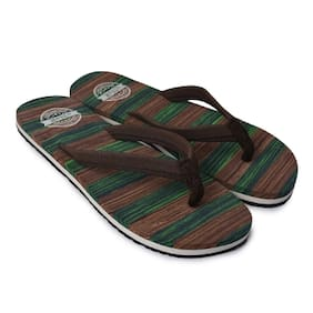 eNaR Women's Green&Brown Color Thong-Style Slippers/Flip Flops (Size-8)