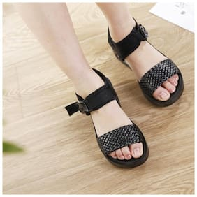 Enso Women Black Sandals