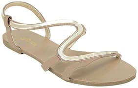 Esatatos Faux Leather Open Toe Contrast Strap Elastic Closure Golden And Beige Flats