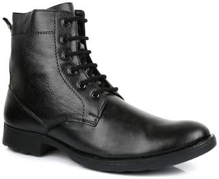 Escaro Men's 100% Genuine Leather Black Casual Boot