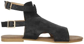 Etashee Black Mesh Style Buckle Closure Ankle Strap Open Toe Flats