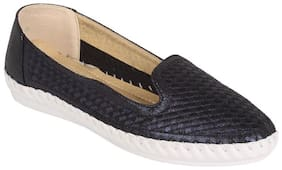 Estatos PU Navy Blue Broad Toe Flat Casual Loafers