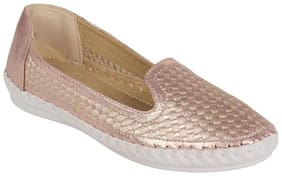 Estatos PU Pink Coloured Broad Toe Flat Loafers