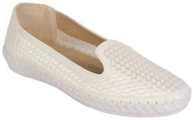 Estatos PU White Coloured Broad Toe Flat Loafers