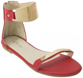 Etashee Suede Open Toe Ankle Strap Zip Closure Red Flats