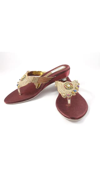d887a32bf8f8 Buy Ethnoware Women Copper Flats   Sandals Online at Low Prices in ...