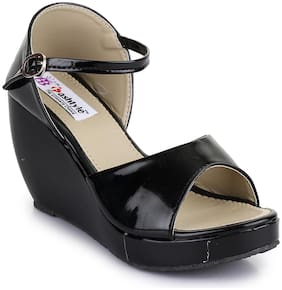 Fashtyle Black Wedges Heels