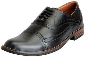 Fausto Men's Black Formal Lace Up Brogue Shoes
