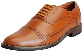 Fausto Men's Tan Formal Lace Up Brogue Shoes