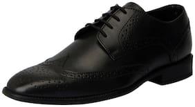 FAUSTO Men's Black Formal Brogue Shoes