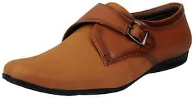 FAUSTO Tan Men's Formal Velcro Shoes