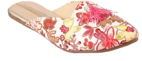Femmecrafts Pink Printed Stylish Slippers For Women uk-6