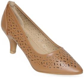 Flat n Heels Heels Artificial Leather Women Tan