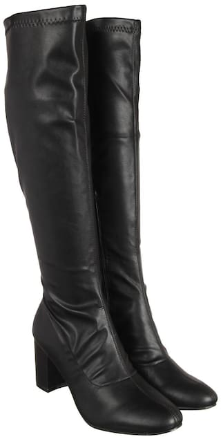 Flat n Heels Women Black Calf length Boots