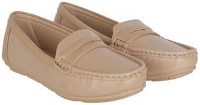 Women Solid Loafers ( Beige )