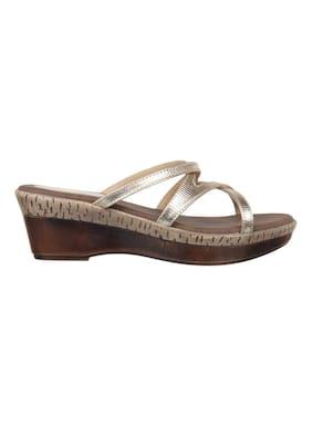 Flat n Heels Women Gold Wedges