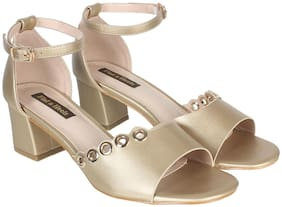 Flat n Heels Women Gold Heeled Sandals