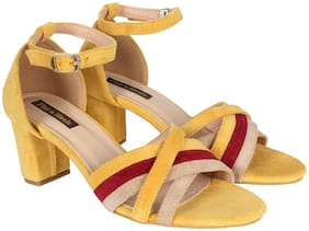 Flat n Heels Women Yellow Heeled Sandals