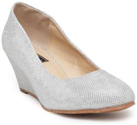 Flat n Heels Silver Wedges