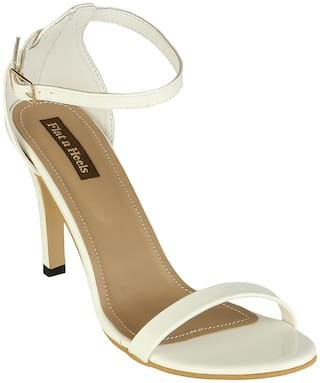 Flat n Heels Women White Heeled Sandals